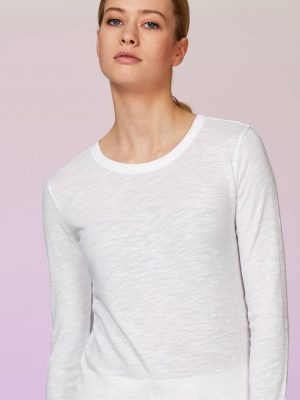 eco loungewear long sleeve top white organic cotton